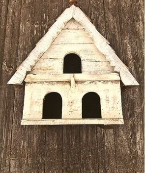 Two Tier Dovecote (Large Hole) Traditional English Triangular Wall Mounted Birdhouse for Doves or Pigeons