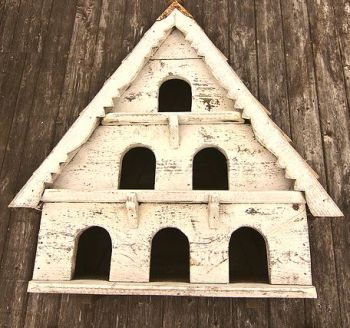 Three Tier Dovecote (Large Hole) Traditional English Triangular Wall Mounted Birdhouse for Doves or Pigeons