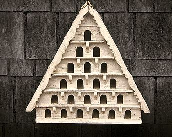 Six Tier Dovecote (Large Hole) Traditional English Triangular Wall Mounted Birdhouse for Doves or Pigeons