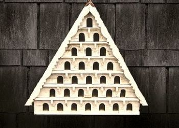 Seven Tier Dovecote (Large Hole) Traditional English Triangular Wall Mounted Birdhouse for Doves or Pigeons