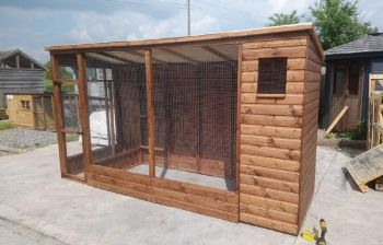 Buttercup All Weather Outdoor Bird Aviary Pet Cage 10' x 4' plus 2' safety porch Group