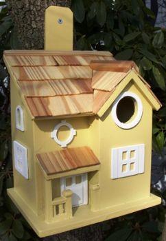 Nestling Cottage Birdhouse - Yellow