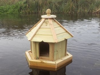 Buttercup Hexagonal Floating Duck House - Small, Waterfowl Nesting Box for Pond or Lake - Pressure Treated Timber