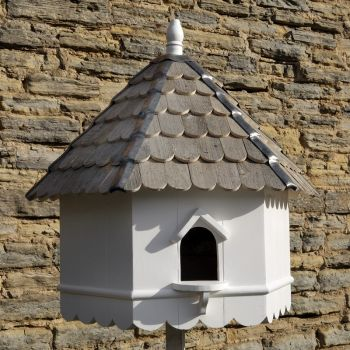 Stratford Dovecote Bird House - Hexagonal one tier Nest Box  Traditional English Pole Mounted Birdhouse for Doves or Pigeons